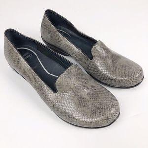 Dansko Olivia Gray Snake Comfort Leather Loafers